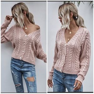 🆕 Blush Cable Knit Button Down Cardigan